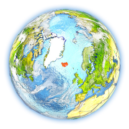 Iceland highlighted in red on planet Earth. 3D illustration isolated on white background.