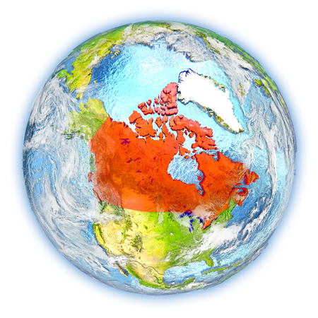 Canada highlighted in red on planet Earth. 3D illustration isolated on white background.