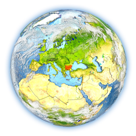 Bulgaria highlighted in red on planet Earth. 3D illustration isolated on white background. Stock Photo