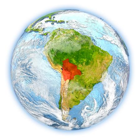 map bolivia: Bolivia destacó en rojo en el planeta Tierra. Ilustración 3D aislado sobre fondo blanco.