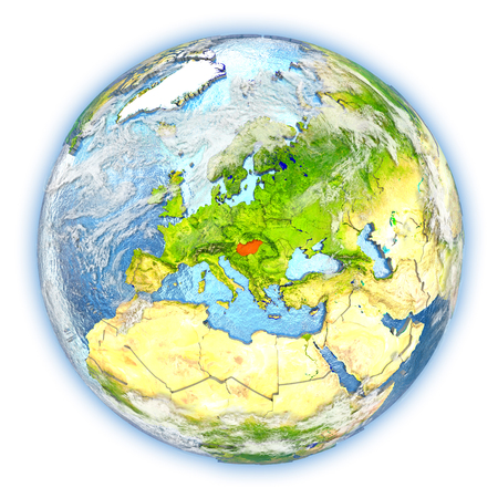 magyar: Hungary highlighted in red on planet Earth. 3D illustration isolated on white background.