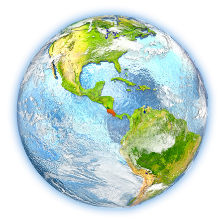 Costa Rica highlighted in red on planet Earth. 3D illustration isolated on white background.