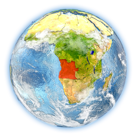 Angola highlighted in red on planet Earth. 3D illustration isolated on white background.