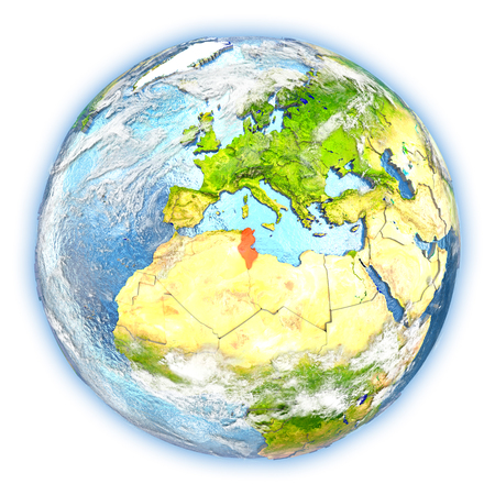 Tunisia highlighted in red on planet Earth. 3D illustration isolated on white background.
