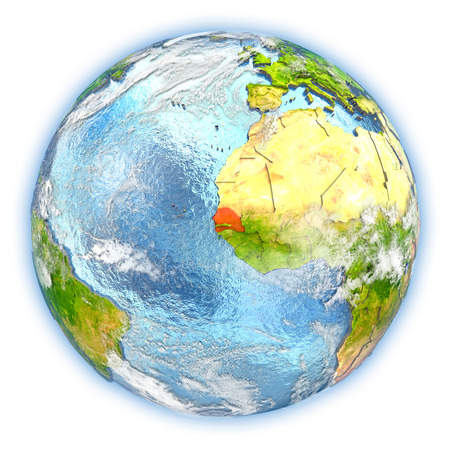Senegal highlighted in red on planet Earth. 3D illustration isolated on white background.