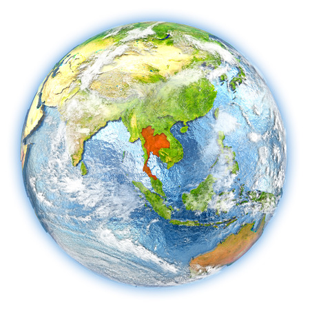 siamese: Thailand highlighted in red on planet Earth. 3D illustration isolated on white background.