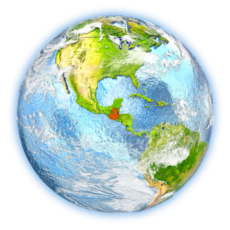 Guatemala highlighted in red on planet Earth. 3D illustration isolated on white background.