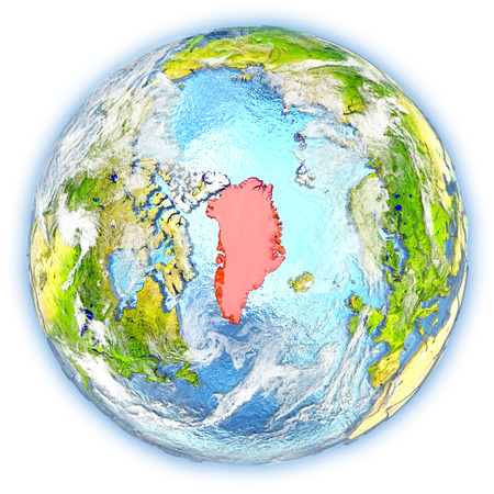 Greenland highlighted in red on planet Earth. 3D illustration isolated on white background. Stock Photo