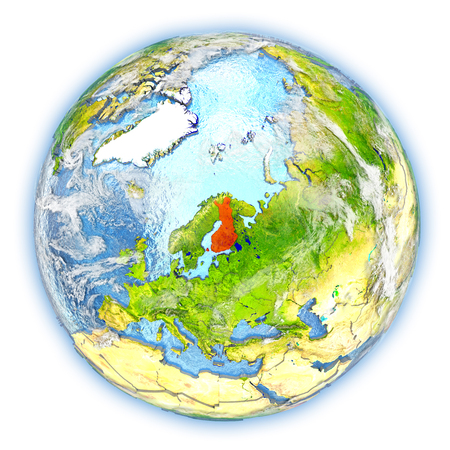 finnish: Finland highlighted in red on planet Earth. 3D illustration isolated on white background. Stock Photo