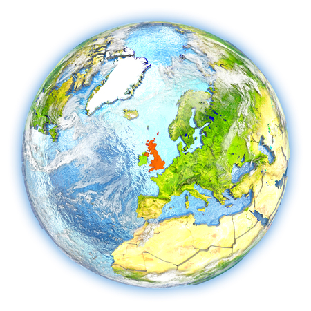 United Kingdom highlighted in red on planet Earth. 3D illustration isolated on white background. Stock fotó