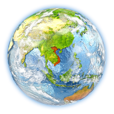 socialist: Vietnam highlighted in red on planet Earth. 3D illustration isolated on white background.