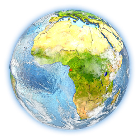 Equatorial Guinea highlighted in red on planet Earth. 3D illustration isolated on white background.