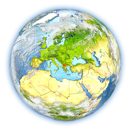 Macedonia highlighted in red on planet Earth. 3D illustration isolated on white background. Stock Photo