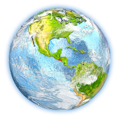 El Salvador highlighted in red on planet Earth. 3D illustration isolated on white background.