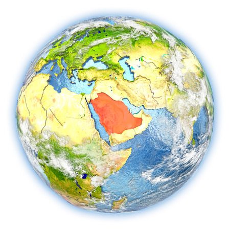 Saudi Arabia highlighted in red on planet Earth. 3D illustration isolated on white background.