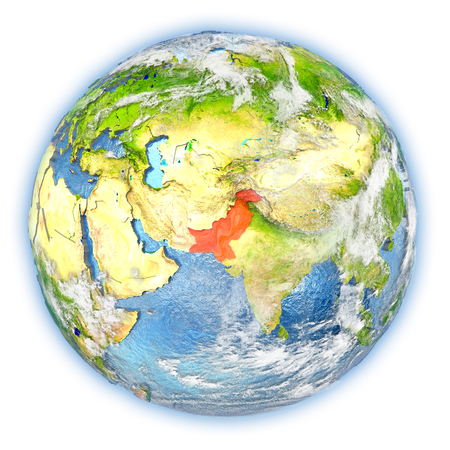 Pakistan highlighted in red on planet Earth. 3D illustration isolated on white background.