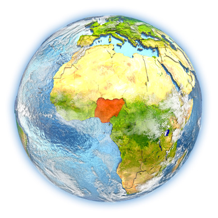 Nigeria highlighted in red on planet Earth. 3D illustration isolated on white background.