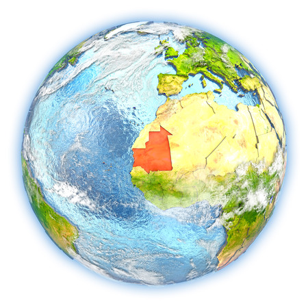 mauritania: Mauritania highlighted in red on planet Earth. 3D illustration isolated on white background. Stock Photo