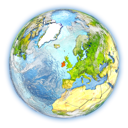 Ireland highlighted in red on planet Earth. 3D illustration isolated on white background. Stock Photo