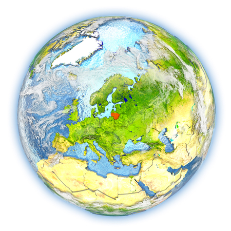 Lithuania highlighted in red on planet Earth. 3D illustration isolated on white background. Stock Photo