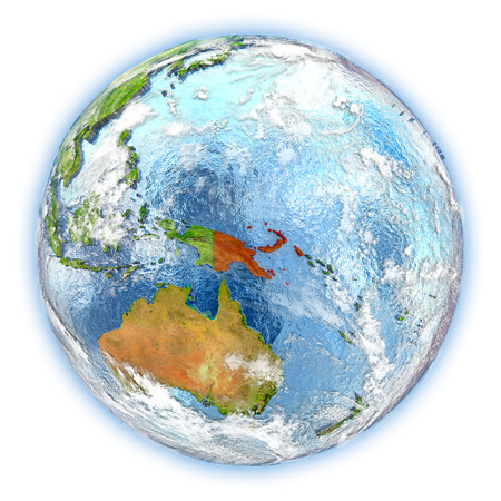 Papua New Guinea highlighted in red on planet Earth. 3D illustration isolated on white background.