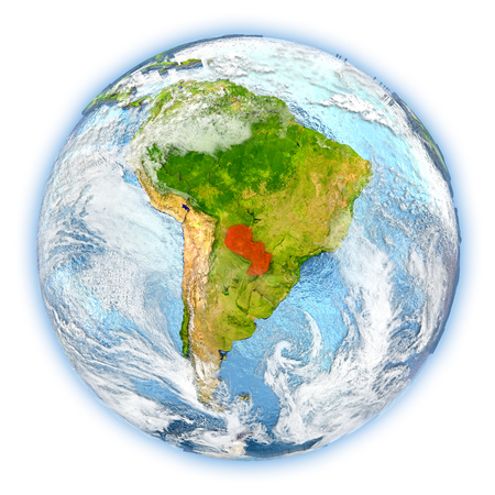 Paraguay highlighted in red on planet Earth. 3D illustration isolated on white background. Stock Photo