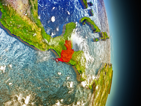 guatemalan: Model of Guatemala from Earths orbit in space. 3D illustration with highly detailed realistic planet surface and clouds in the atmosphere.