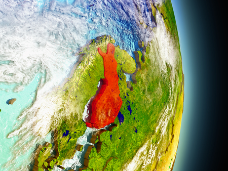 suomi: Model of Finland from Earths orbit in space. 3D illustration with highly detailed realistic planet surface and clouds in the atmosphere. Stock Photo
