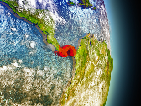 panamanian: Model of Panama from Earths orbit in space. 3D illustration with highly detailed realistic planet surface and clouds in the atmosphere. Stock Photo