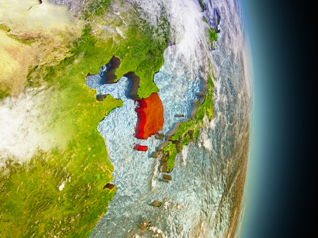 republic of korea: Model of South Korea from Earths orbit in space. 3D illustration with highly detailed realistic planet surface and clouds in the atmosphere.