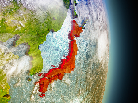 nippon: Model of Japan from Earths orbit in space. 3D illustration with highly detailed realistic planet surface and clouds in the atmosphere. Stock Photo