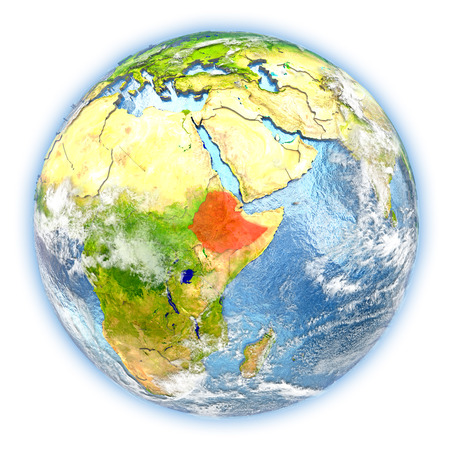 Ethiopia highlighted in red on planet Earth. 3D illustration isolated on white background.