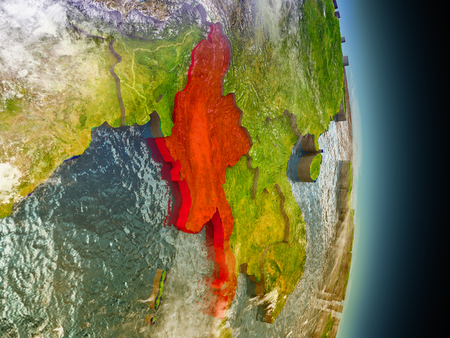burmese: Model of Myanmar from Earths orbit in space. 3D illustration with highly detailed realistic planet surface and clouds in the atmosphere.