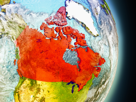 Model of Canada from Earths orbit in space. 3D illustration with highly detailed realistic planet surface and clouds in the atmosphere.