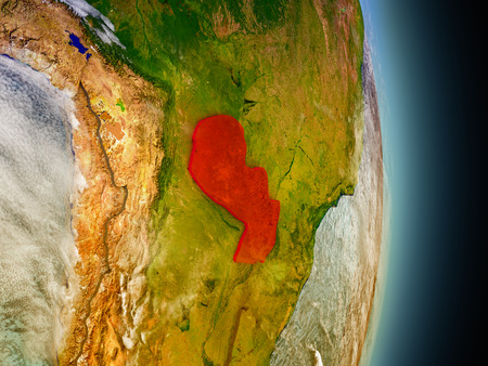 Model of Paraguay from Earths orbit in space. 3D illustration with highly detailed realistic planet surface and clouds in the atmosphere.