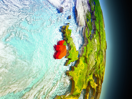eire: Model of Ireland from Earths orbit in space. 3D illustration with highly detailed realistic planet surface and clouds in the atmosphere. Stock Photo