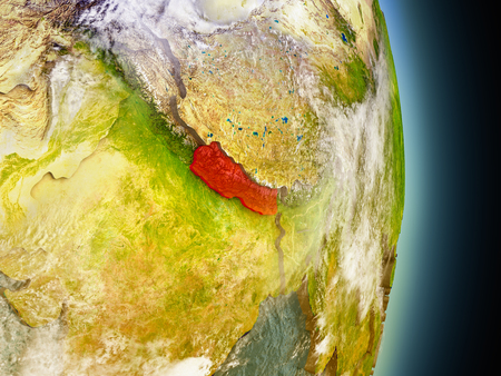 Model of Nepal from Earths orbit in space. 3D illustration with highly detailed realistic planet surface and clouds in the atmosphere. Elements of this image furnished by NASA. Stock Photo