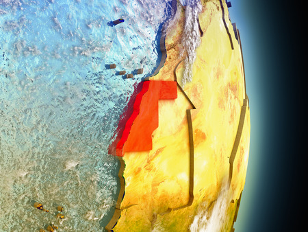 Model of Western Sahara from Earths orbit in space. 3D illustration with highly detailed realistic planet surface and clouds in the atmosphere. Elements of this image furnished by NASA. Stock Photo
