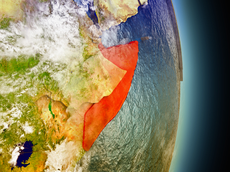 Model of Somalia from Earths orbit in space. 3D illustration with highly detailed realistic planet surface and clouds in the atmosphere. Stock Photo