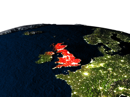 United Kingdom at night as seen from Earths orbit in space. 3D illustration with highly detailed realistic planet surface and city lights.