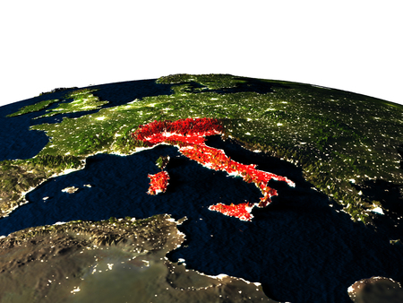 Italy at night as seen from Earths orbit in space. 3D illustration with highly detailed realistic planet surface and city lights. Stock Photo