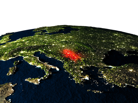 republika: Serbia at night as seen from Earths orbit in space. 3D illustration with highly detailed realistic planet surface and city lights.