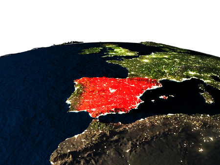 Spain at night as seen from Earths orbit in space. 3D illustration with highly detailed realistic planet surface and city lights. Stock Photo