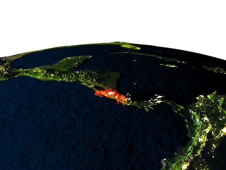 Costa Rica at night as seen from Earths orbit in space. 3D illustration with highly detailed realistic planet surface and city lights. Elements of this image furnished by NASA.