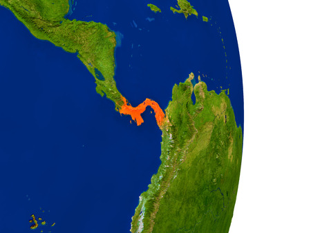 panamanian: Map of Panama in red on planet Earth. 3D illustration with detailed planet surface. Stock Photo