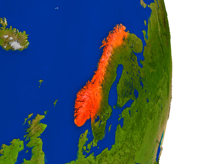 Map of Norway in red on planet Earth. 3D illustration with detailed planet surface. Stock Photo