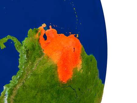Mapa de Venezuela en rojo en el planeta Tierra. Ilustración 3D con superficie de planeta detallada.