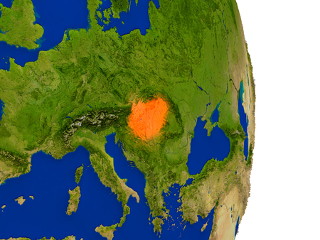 magyar: Map of Hungary in red on planet Earth. 3D illustration with detailed planet surface. Stock Photo