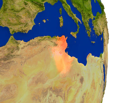 Map of Tunisia in red on planet Earth. 3D illustration with detailed planet surface.