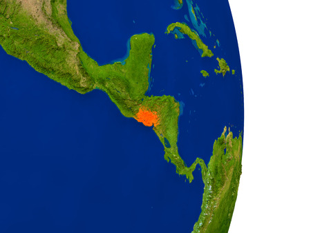 Map of El Salvador in red on planet Earth. 3D illustration with detailed planet surface.